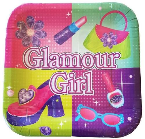 Πιάτα πάρτυ τετράγωνα glamour girl (8 τεμ)