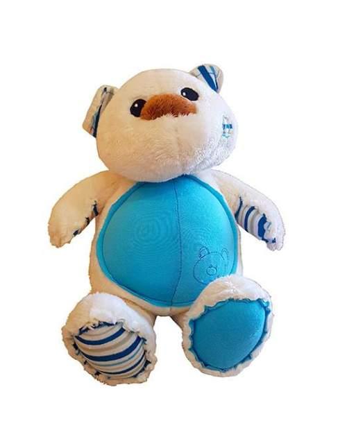 Λούτρινο Αρκουδάκι λευκό - γαλάζιο