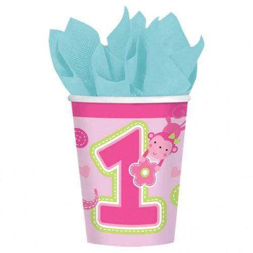 """Ποτήρια """"Πρώτα γενέθλια"""" κοριτσάκι (8 τεμ)"""