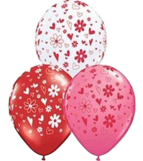 """12"""" Μπαλόνι τυπωμένο καρδιές & λουλούδια (3 χρωμ)"""