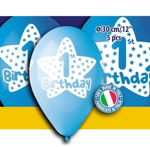 """12"""" Μπαλόνι πρώτα γενέθλια αγοράκι (5 τεμ)"""