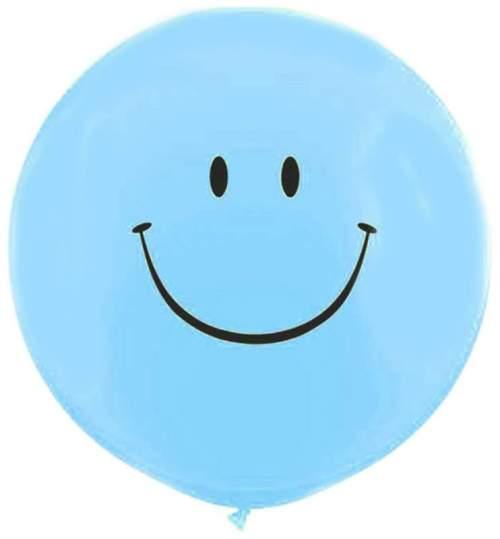 Τεράστιο μπαλόνι τυπωμένο Smile Face γαλάζιο