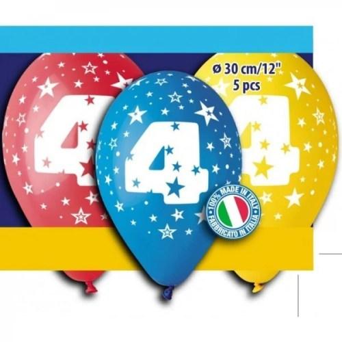Μπαλόνια τυπωμένα για γενέθλια Νούμερο 4 (5 τεμ)
