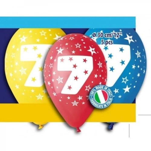 Μπαλόνια τυπωμένα για γενέθλια Νούμερο 7 (5 τεμ)