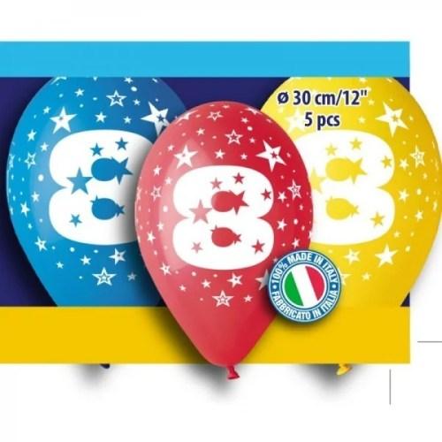 """12"""" Μπαλόνι γενέθλια Νο 8 (5 τεμ)"""
