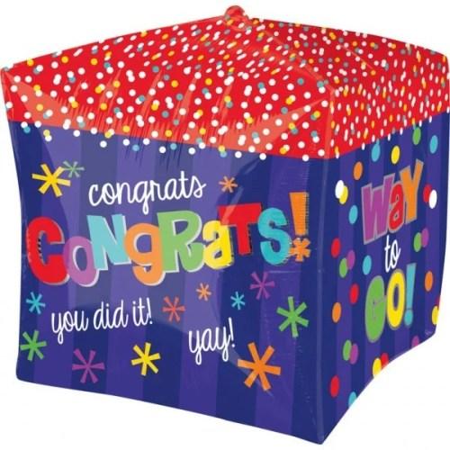 Μπαλόνι αποφοίτησης 3D Κύβος Congrats 38 εκ