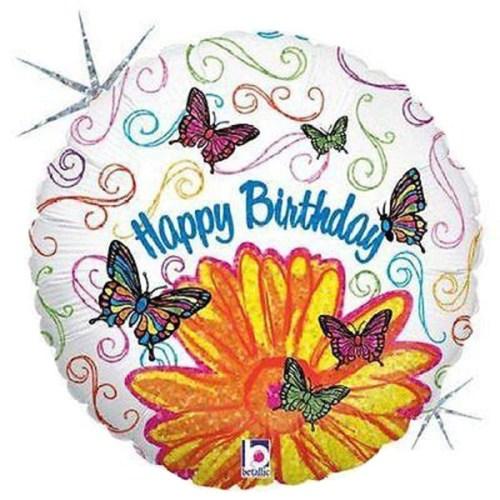 Μπαλόνι για γενέθλια Μαργαρίτα και Πεταλούδες 'Happy Birthday'