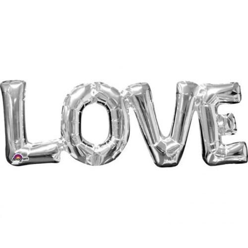 Μπαλόνι αγάπης Ασημί 'Love'
