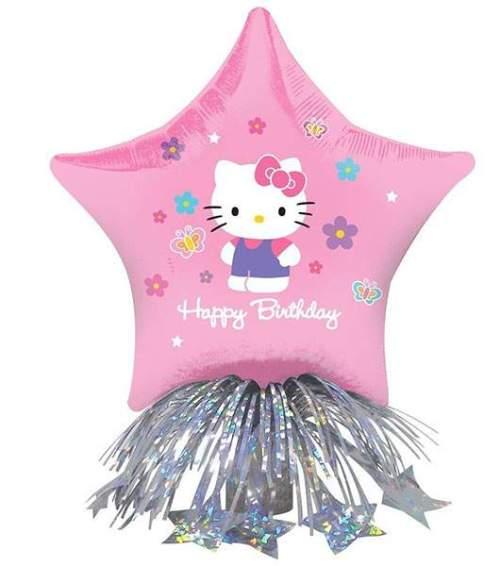 """Μπαλόνι αστέρι Hello Kitty """"Happy Bday"""" με βαρίδιο & κορδέλες"""