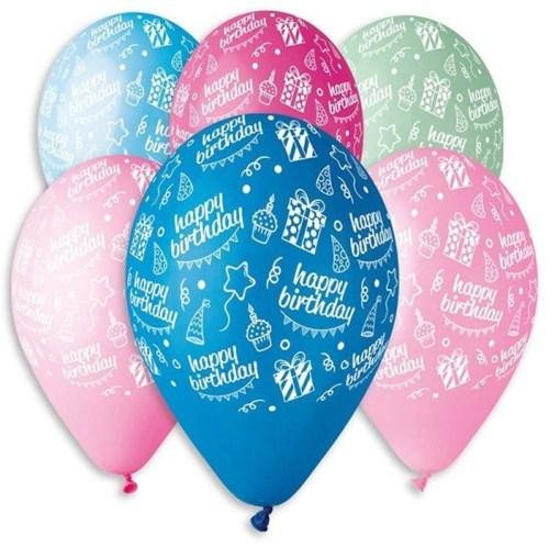 Μπαλόνι τυπωμένο για γενέθλια σε 6 χρώματα 'Happy Bday'