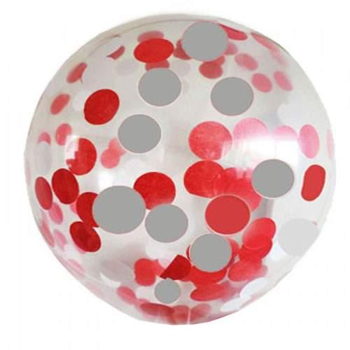 """19"""" Διάφανο μπαλόνι γεμισμένο με Κόκκινο & Ασημί κονφετί"""