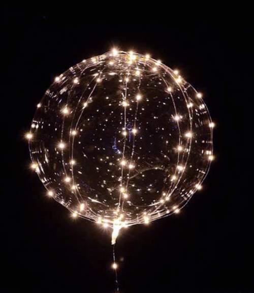 """18"""" Διάφανο μπαλόνι φωτιζόμενο με λευκό LED"""