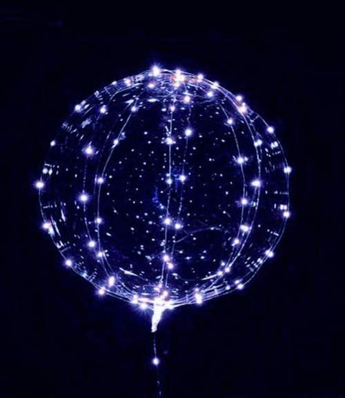 """18"""" Διάφανο μπαλόνι φωτιζόμενο με μπλε LED"""