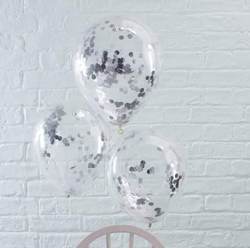 Διάφανο μπαλόνι γεμισμένο με Aσημί κονφετί