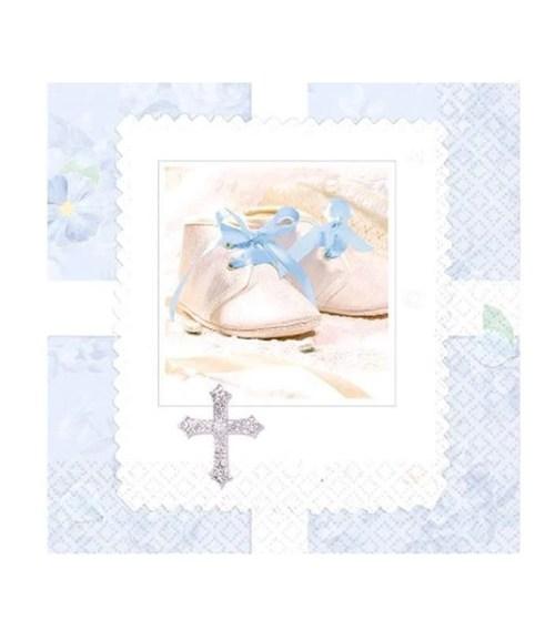 Γαλάζιεςμικρές χαρτοπετσέτες με παιδικά παπουτσάκια (16 τεμ)