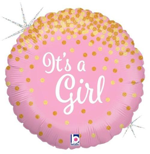 Μπαλόνι γέννησης Its a Girl με γκλίτερ