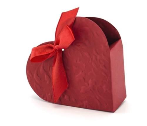 Κόκκινα χάρτινα κουτάκια ανάγλυφη Καρδούλα μαζί με κορδέλα (10 τεμ)