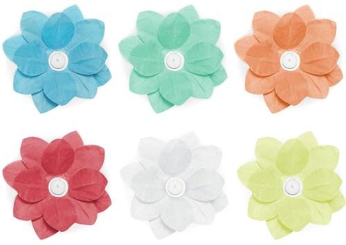 Φαναράκια λουλούδια που επιπλέουν σε διάφορα χρώματα (6 τεμ)