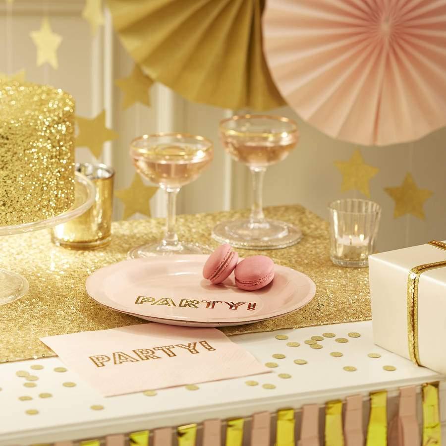 Πιάτα πάρτυ μικρά ροζ της πούδρας (6 τεμ)