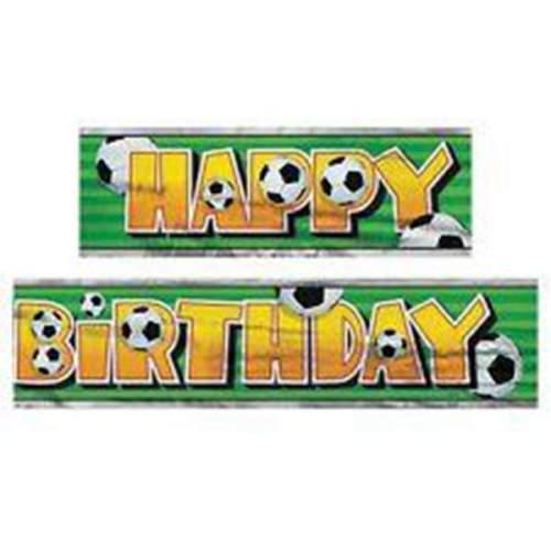 Μπάνερ 'Happy Birthday' πλαστικό με μπάλες ποδοσφαίρου