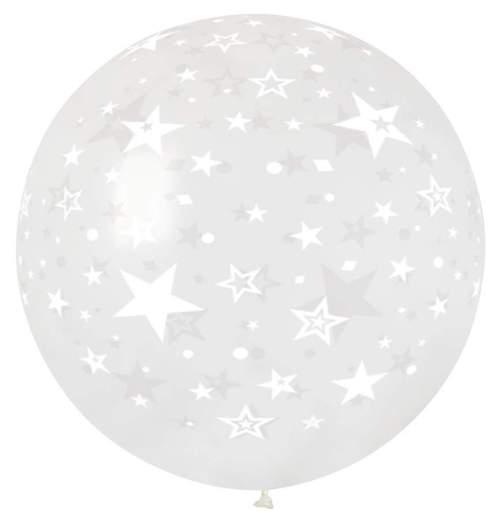 Τεράστιο μπαλόνι τυπωμένο Αστεράκια διάφανο