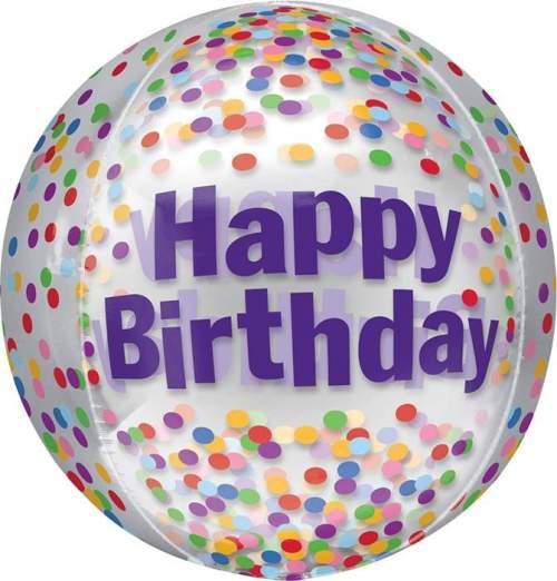 Μπαλόνι Happy Birthday κομφετί ORBZ 40 εκ