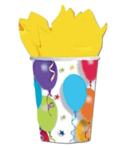 Ποτήρια με μπαλόνια & αστέρια (8 τεμ)