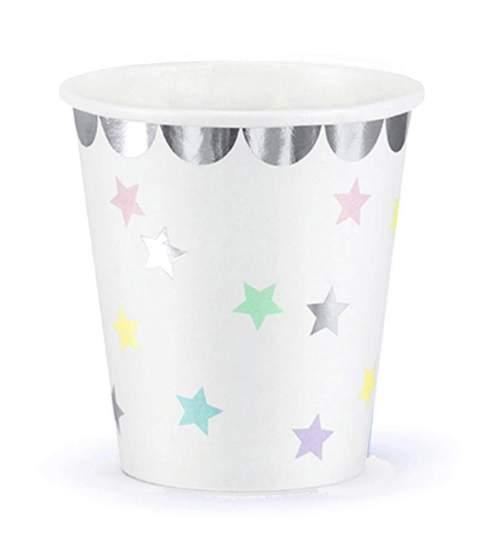 Ποτήρια πάρτυ λευκά με αστεράκια (6 τεμ)