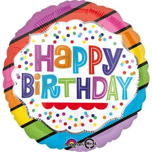 Μπαλόνι Happy Birthday λωρίδες & πουά 45 εκ