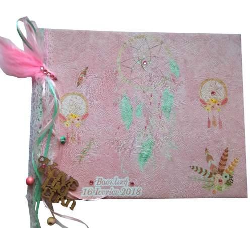 Χειροποίητο Βιβλίο Ευχών Ονειροπαγίδα ροζ-βεραμάν