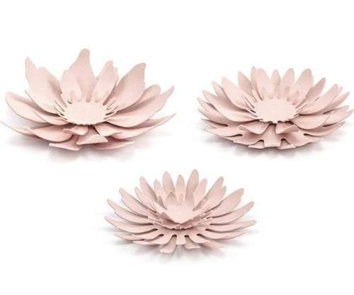 Χάρτινο διακοσμητικό λουλούδι Ροζ της πούδρας (3 τεμ)
