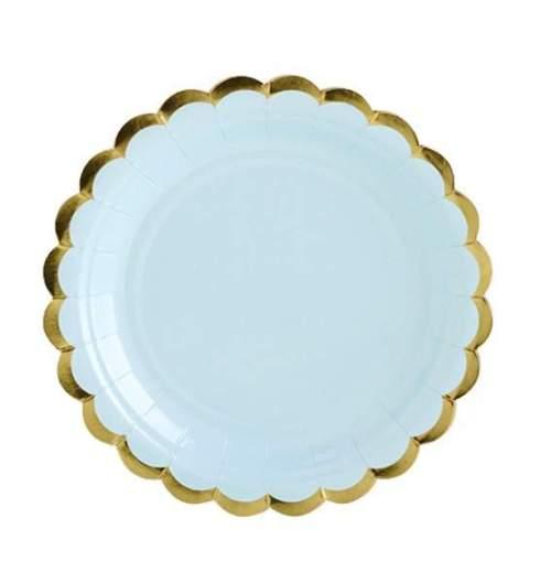 Πιάτα πάρτυ μικρά γαλάζιο με χρυσό (6 τεμ)