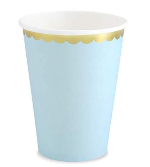 Ποτήρια πάρτυ χάρτινα γαλάζιο με χρυσό (6 τεμ)