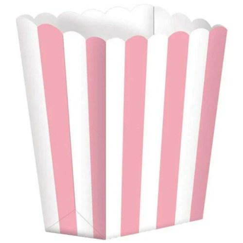 Χάρτινο Ροζ τσαντάκι με ρίγες για πάρτυ (5 τεμ)