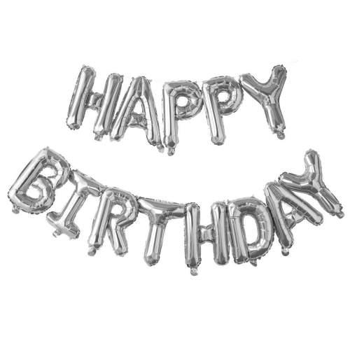 """Σετ μπαλονιών """"Happy Birthday"""" Ασημί (13 τεμ)"""