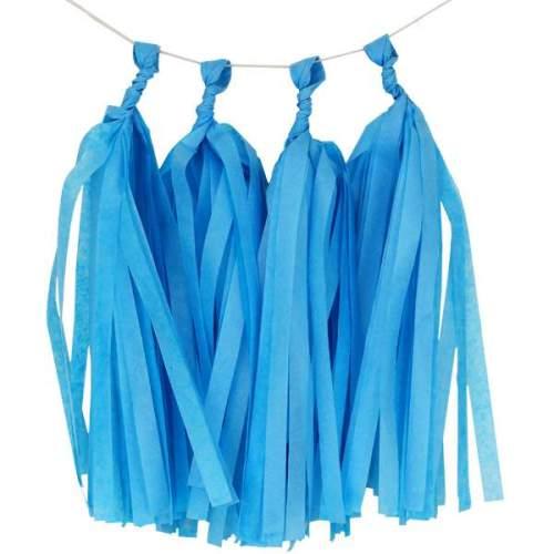 Παστέλ Μπλε γιρλάντα με φούντες (5 τεμ)