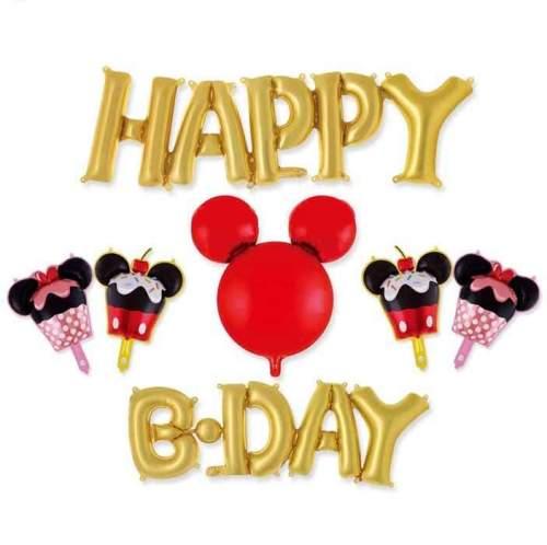 Σετ μπαλονιών Happy B-day χρυσό Mickey Mouse (7 τεμ)