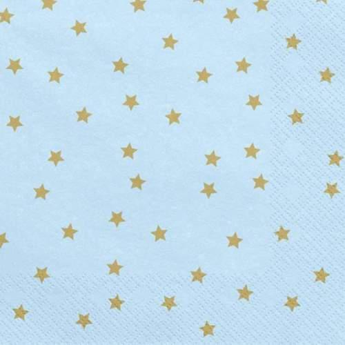 Χαρτοπετσέτες ανοιχτό γαλάζιο με αστεράκια(20 τεμ)