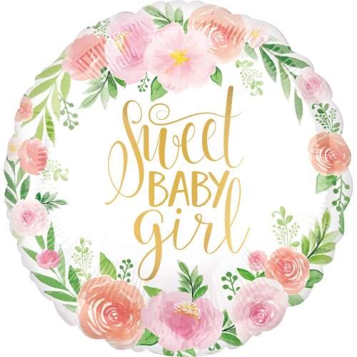 Μπαλόνι φλοράλ Sweet Baby Girl 45 εκ