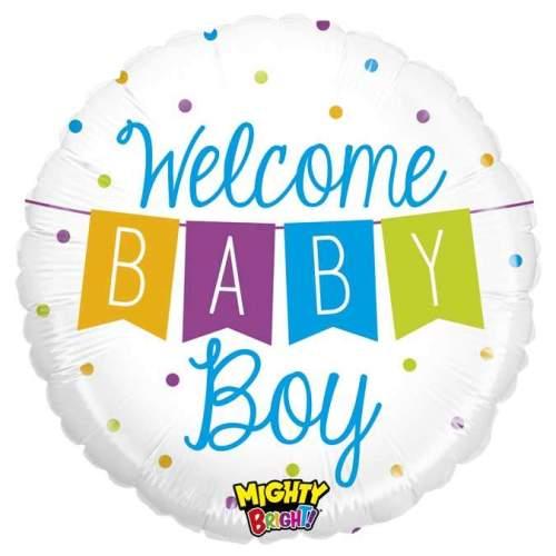 Μπαλόνι γέννησης Welcome Baby Boy μπάνερ 45 εκ