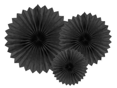 Σετ Μαύρες χάρτινες βεντάλιες (3 τεμ)