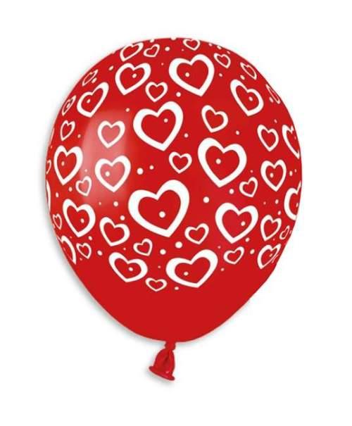 """5"""" Μπαλόνι μικρό τυπωμένο Καρδιές & τελείες"""
