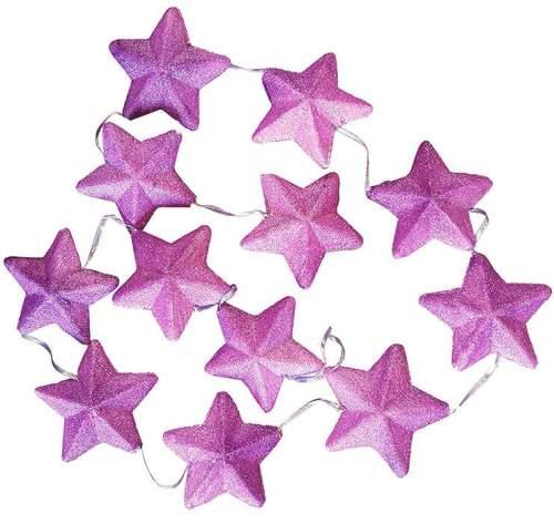 Διακοσμητική γιρλάντα με μωβ αστεράκια