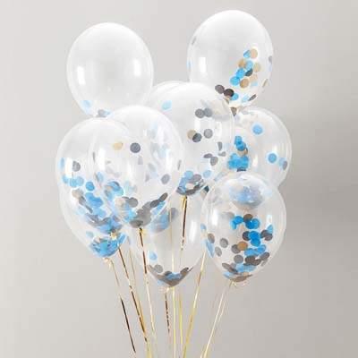 Διάφανο μπαλόνι γεμισμένο με μπλε & χρυσό κονφετί