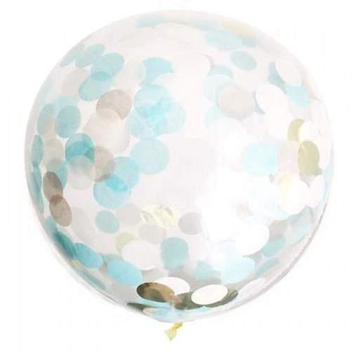 """19"""" Διάφανο μπαλόνι γεμισμένο με μπλε & χρυσό κονφετί"""