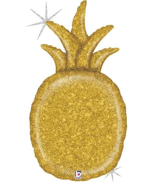 Μπαλόνι χρυσός Ανανάς με γκλίτερ