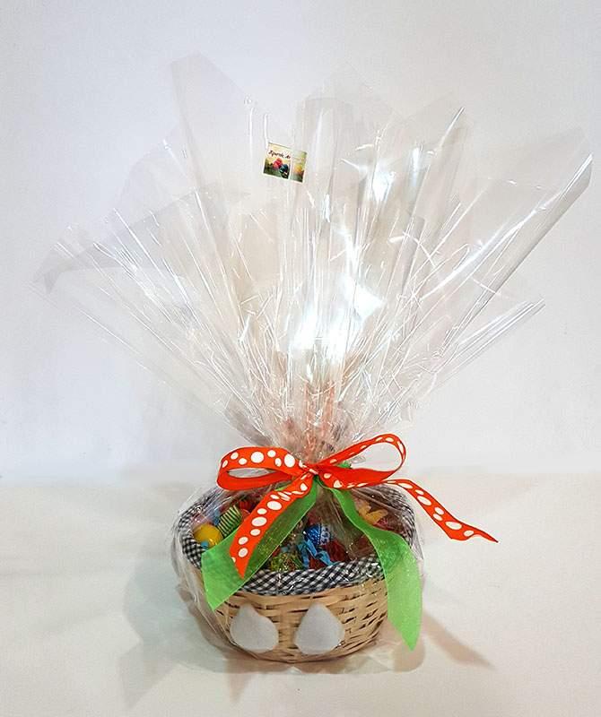 Πασχαλινό καλαθάκι γεμισμένο με σοκολατάκια & ζαχαρωτά (σχέδιο 5)