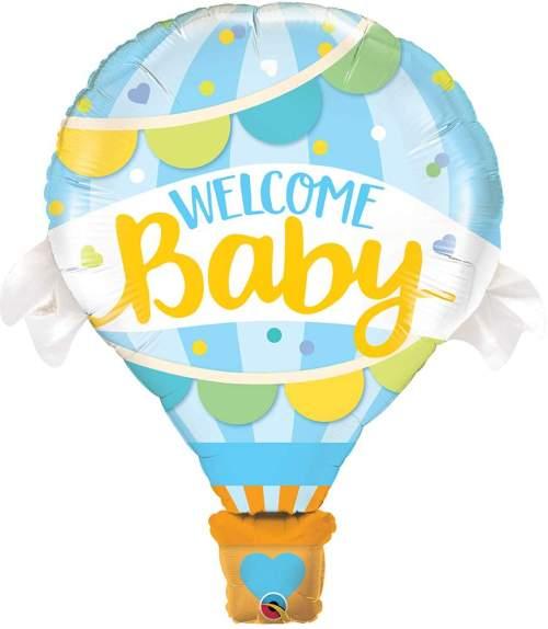 Μπαλόνι γέννησης Welcome Baby μπλε αερόστατο 107 εκ