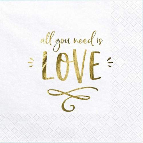 """Χαρτοπετσέτες """"All you need is love"""" (20 τεμ)"""