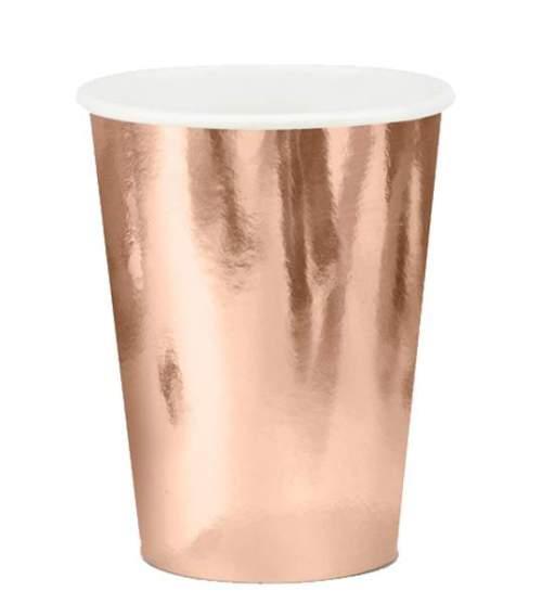 Ποτήρια πάρτυ χάρτινα ροζ χρυσό (6 τεμ)